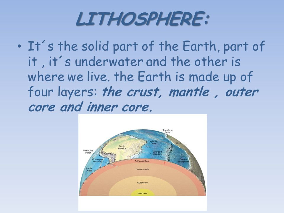 LITHOSPHERE: It´s the solid part of the Earth, part of it, it´s underwater and the other is where we live.