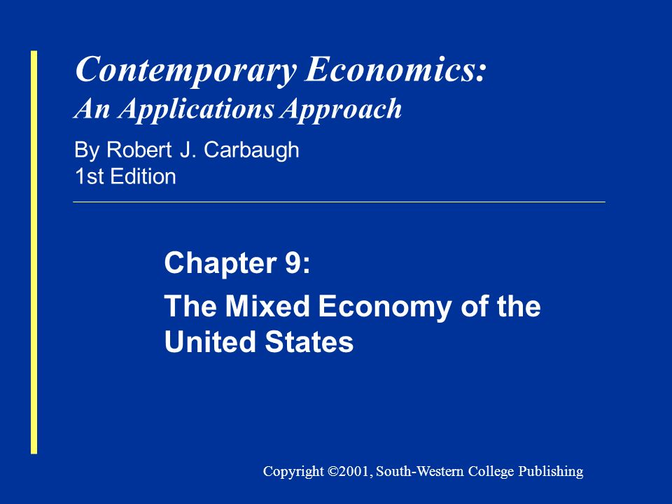 Copyright ©2001, South-Western College Publishing Contemporary Economics: An Applications Approach By Robert J.
