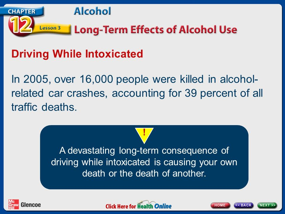 Driving While Intoxicated In 2005, over 16,000 people were killed in alcohol- related car crashes, accounting for 39 percent of all traffic deaths.
