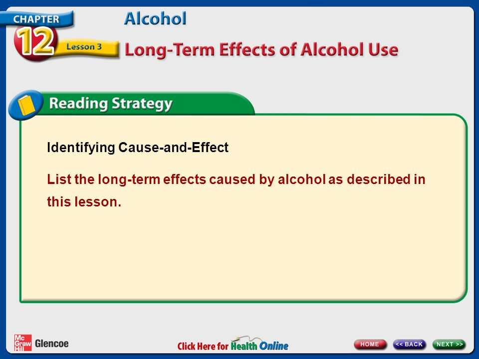Identifying Cause-and-Effect List the long-term effects caused by alcohol as described in this lesson.