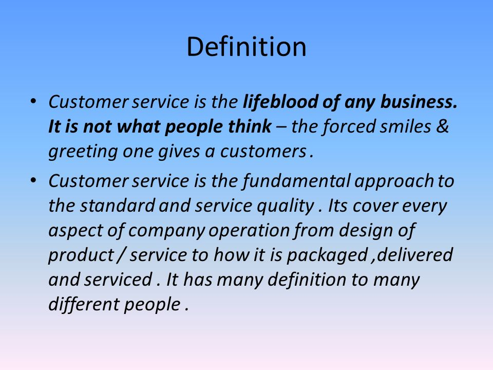overview of customer service