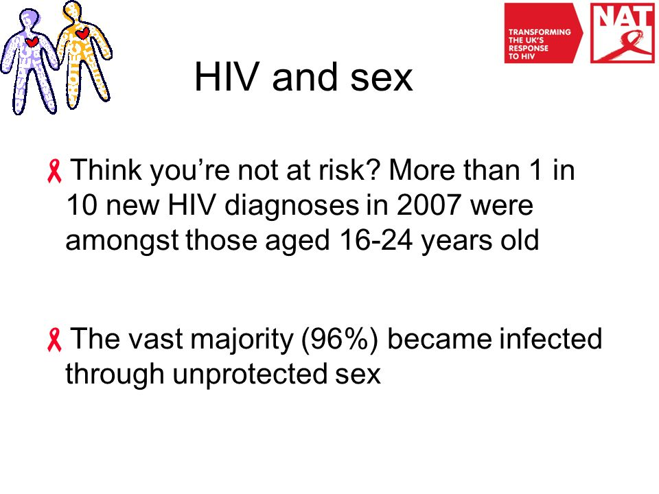 HIV and sex  Think you're not at risk.