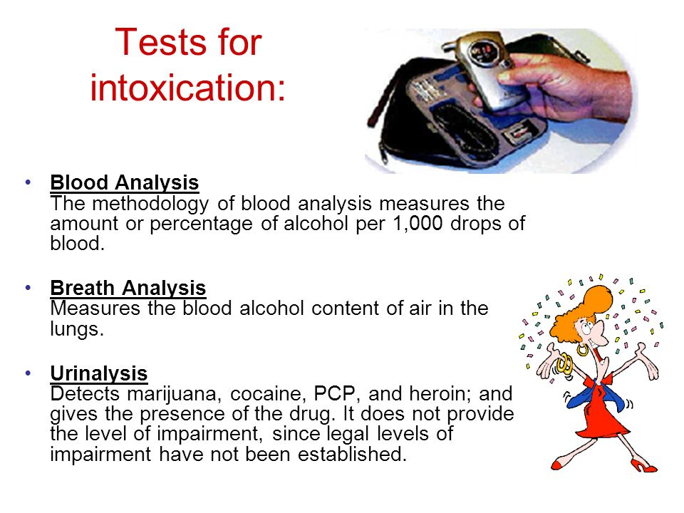 Tests for intoxication: Blood Analysis The methodology of blood analysis measures the amount or percentage of alcohol per 1,000 drops of blood.