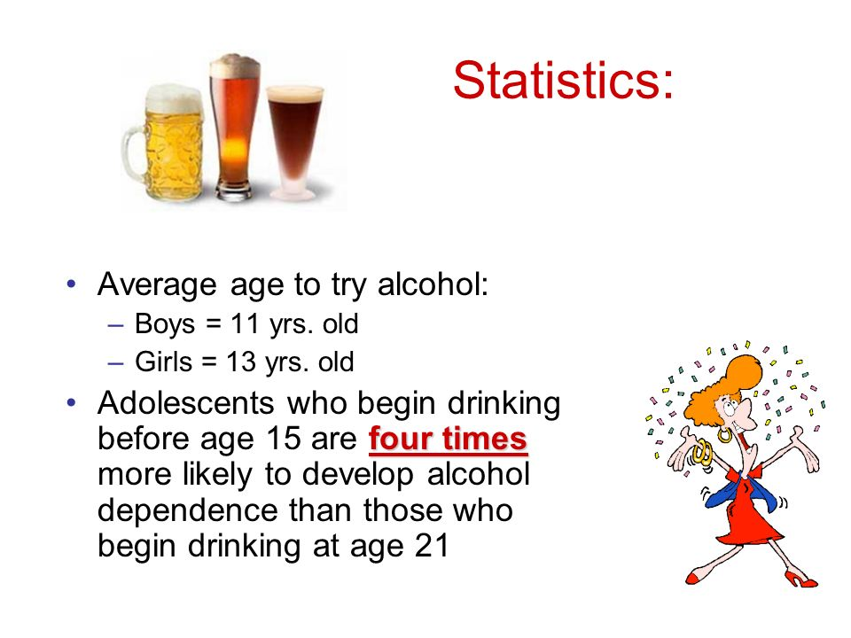 Statistics: Average age to try alcohol: –Boys = 11 yrs.