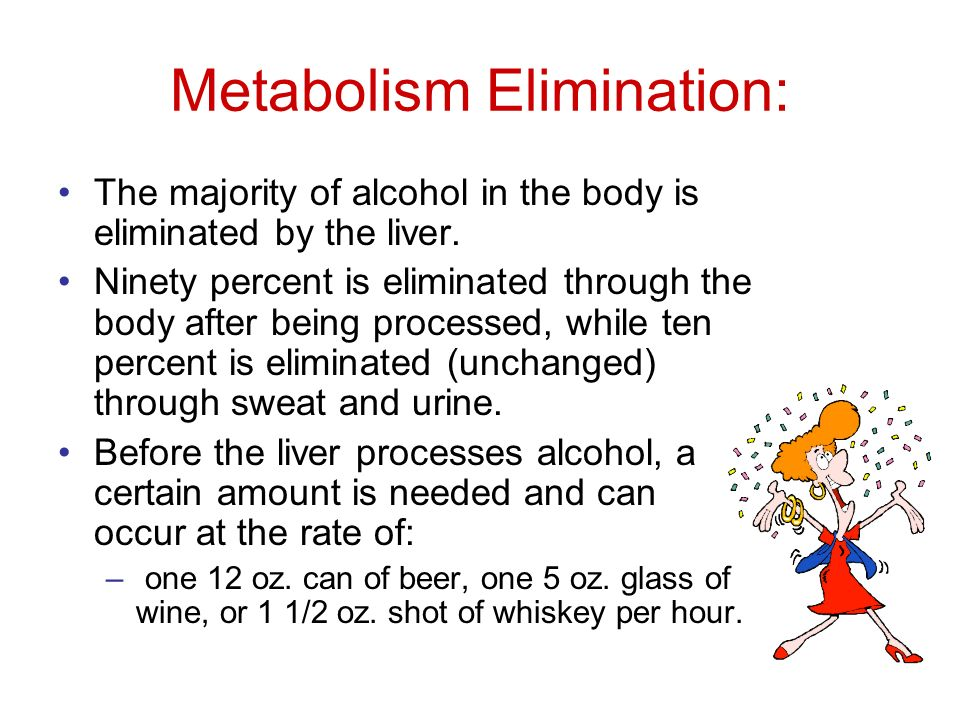 Metabolism Elimination: The majority of alcohol in the body is eliminated by the liver.