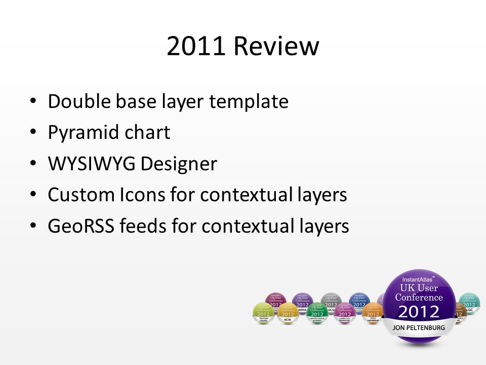 2011 Review Double base layer template Pyramid chart WYSIWYG Designer Custom Icons for contextual layers GeoRSS feeds for contextual layers