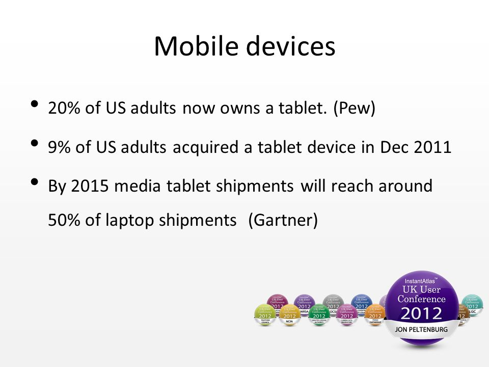 Mobile devices 20% of US adults now owns a tablet.