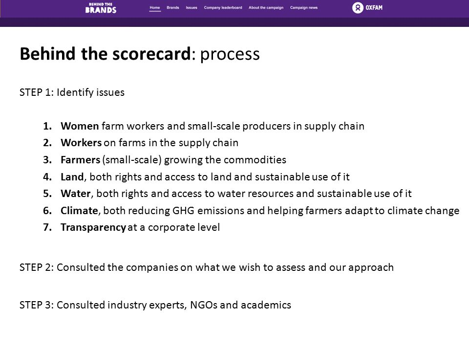 Behind the scorecard: process STEP 1: Identify issues 1.Women farm workers and small-scale producers in supply chain 2.Workers on farms in the supply chain 3.Farmers (small-scale) growing the commodities 4.Land, both rights and access to land and sustainable use of it 5.Water, both rights and access to water resources and sustainable use of it 6.Climate, both reducing GHG emissions and helping farmers adapt to climate change 7.Transparency at a corporate level STEP 2: Consulted the companies on what we wish to assess and our approach STEP 3: Consulted industry experts, NGOs and academics