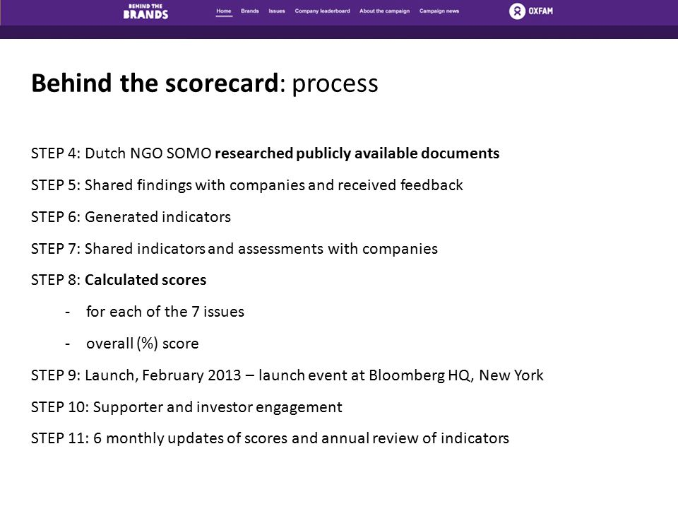 Behind the scorecard: process STEP 4: Dutch NGO SOMO researched publicly available documents STEP 5: Shared findings with companies and received feedback STEP 6: Generated indicators STEP 7: Shared indicators and assessments with companies STEP 8: Calculated scores -for each of the 7 issues -overall (%) score STEP 9: Launch, February 2013 – launch event at Bloomberg HQ, New York STEP 10: Supporter and investor engagement STEP 11: 6 monthly updates of scores and annual review of indicators