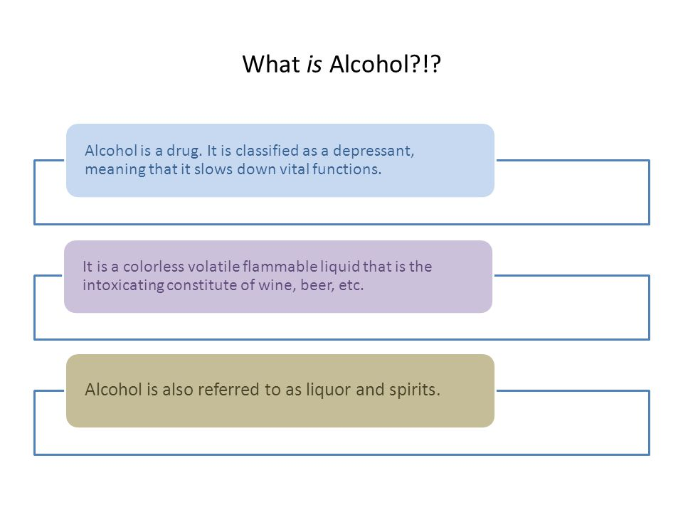 What is Alcohol !. Alcohol is a drug.