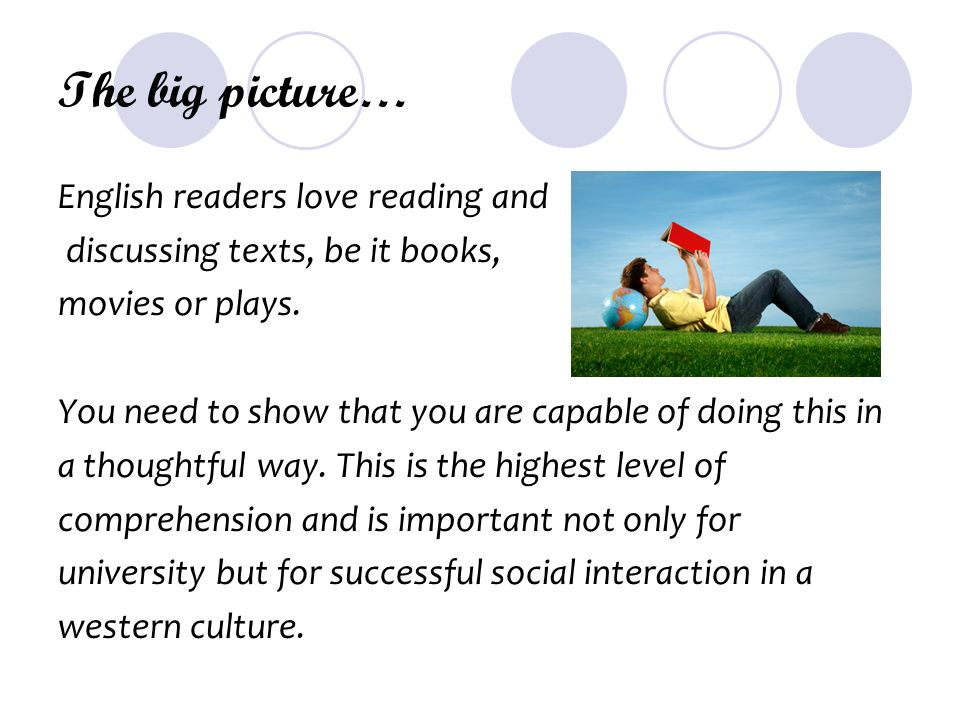 The big picture… English readers love reading and discussing texts, be it books, movies or plays.