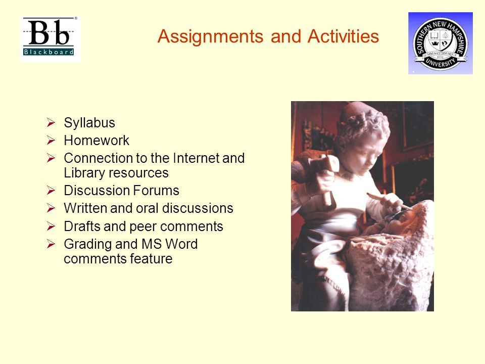 Assignments and Activities  Syllabus  Homework  Connection to the Internet and Library resources  Discussion Forums  Written and oral discussions  Drafts and peer comments  Grading and MS Word comments feature