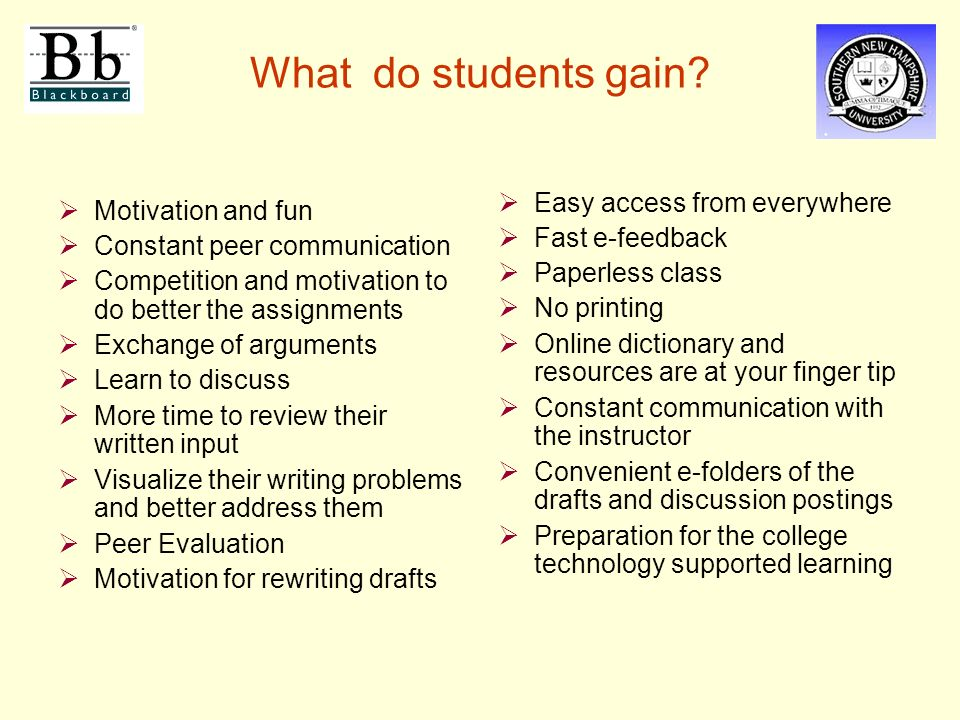 What do students gain.