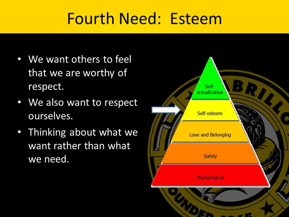 Fourth Need: Esteem We want others to feel that we are worthy of respect.