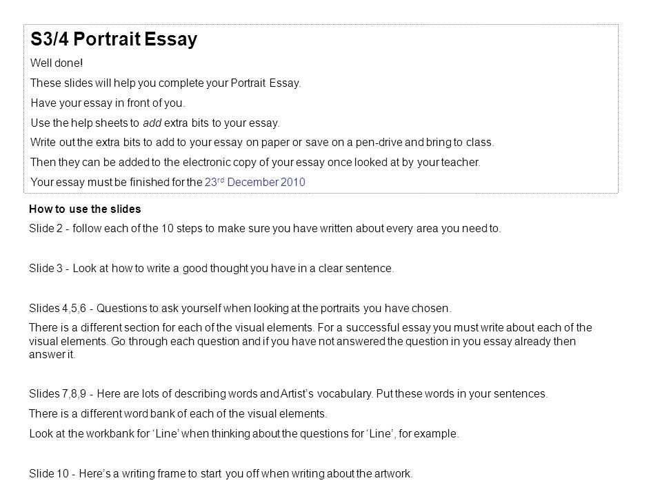 Thesis For Compare And Contrast Essay S Portrait Essay Well Done These Slides Will Help You Complete Your  Portrait Short Essays In English also Example Of An Essay Paper S Portrait Essay Well Done These Slides Will Help You Complete  Thesis Statement For Analytical Essay