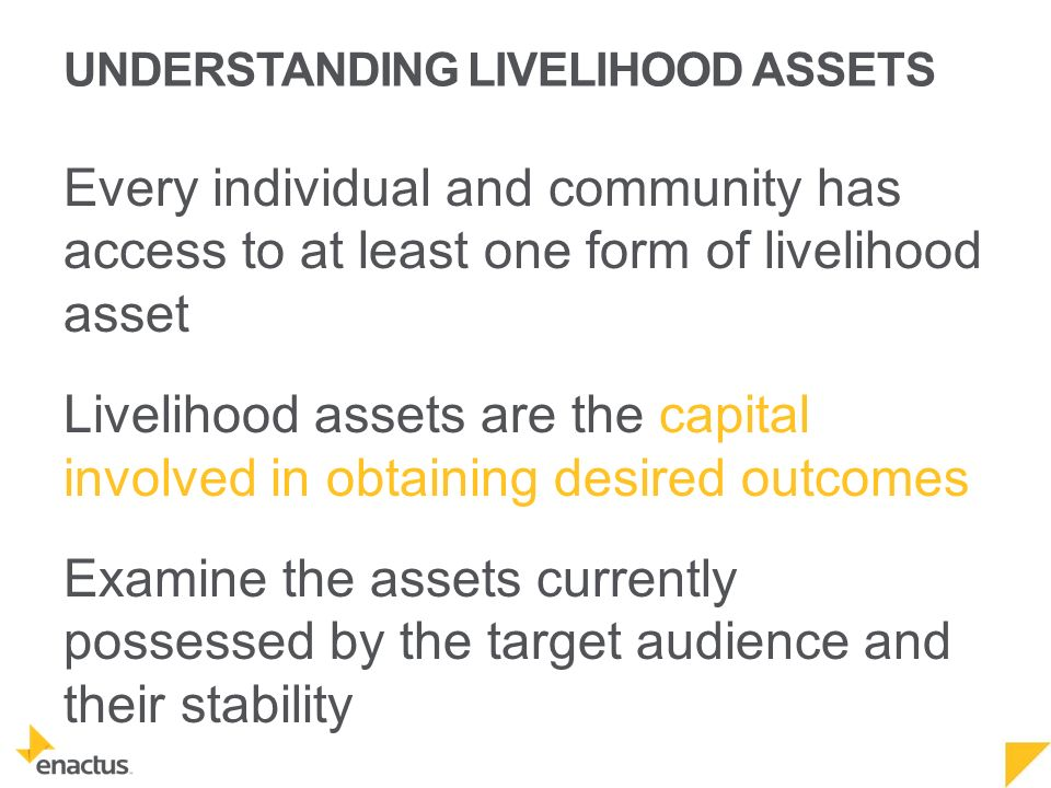 UNDERSTANDING LIVELIHOOD ASSETS Every individual and community has access to at least one form of livelihood asset Livelihood assets are the capital involved in obtaining desired outcomes Examine the assets currently possessed by the target audience and their stability