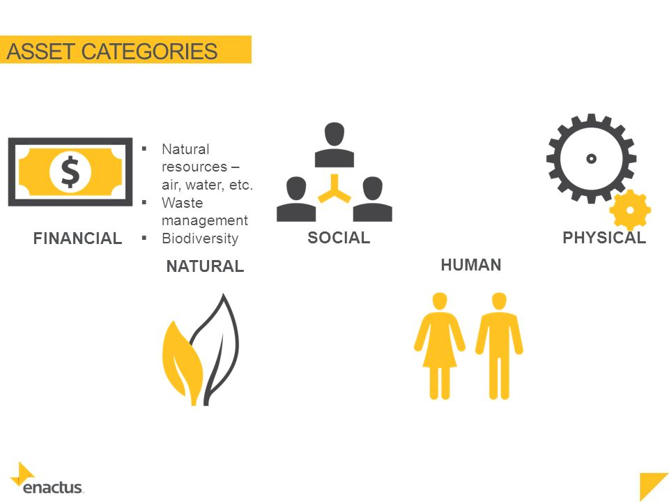 ASSET CATEGORIES NATURAL FINANCIAL SOCIAL HUMAN PHYSICAL  Natural resources – air, water, etc.