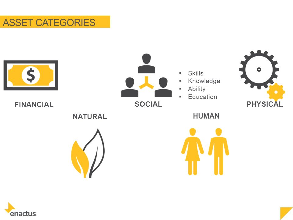 ASSET CATEGORIES NATURAL FINANCIAL SOCIAL HUMAN PHYSICAL  Skills  Knowledge  Ability  Education
