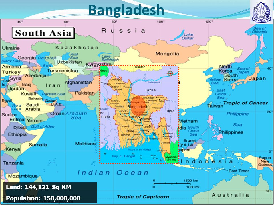 Bangladesh Land: 144,121 Sq KM Population: 150,000,000
