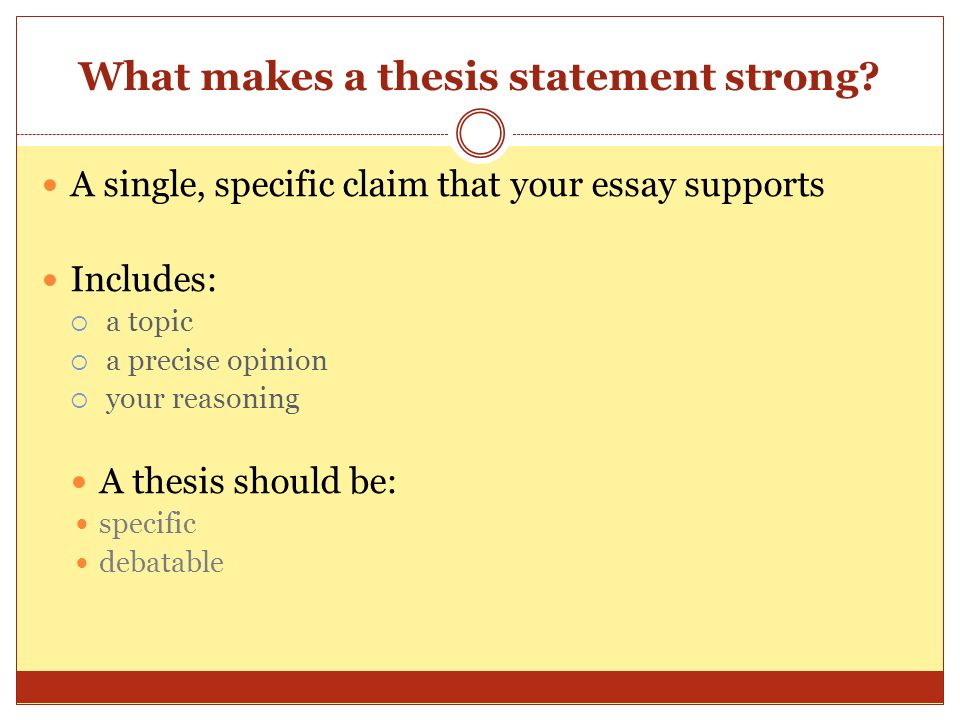 What makes a thesis statement strong.