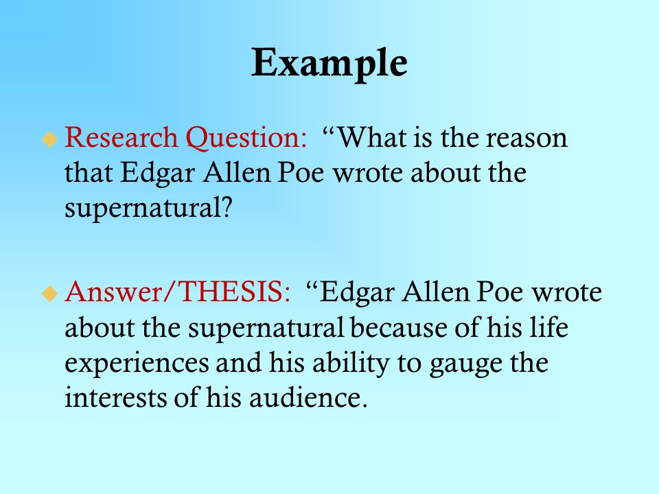 Edgar allan poe thesis statements proving thesis