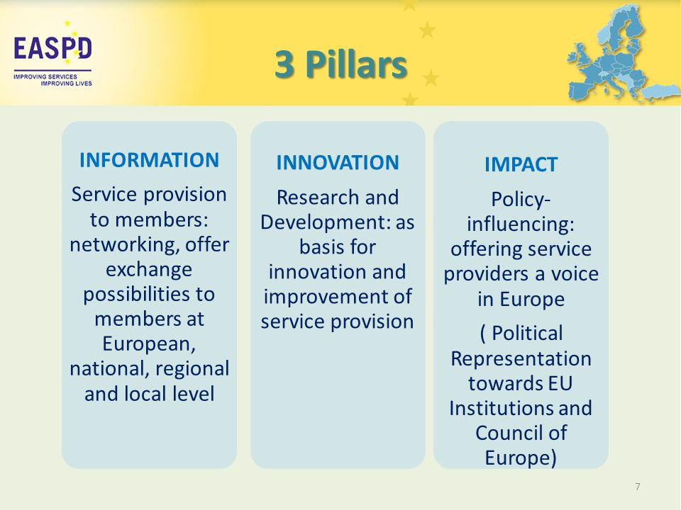 3 Pillars 7 INFORMATION Service provision to members: networking, offer exchange possibilities to members at European, national, regional and local level INNOVATION Research and Development: as basis for innovation and improvement of service provision IMPACT Policy- influencing: offering service providers a voice in Europe ( Political Representation towards EU Institutions and Council of Europe)