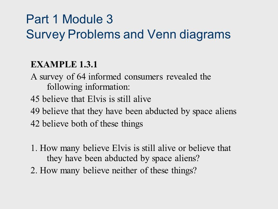 Part 1 Module 3 Survey Problems And Venn Diagrams Example A Survey