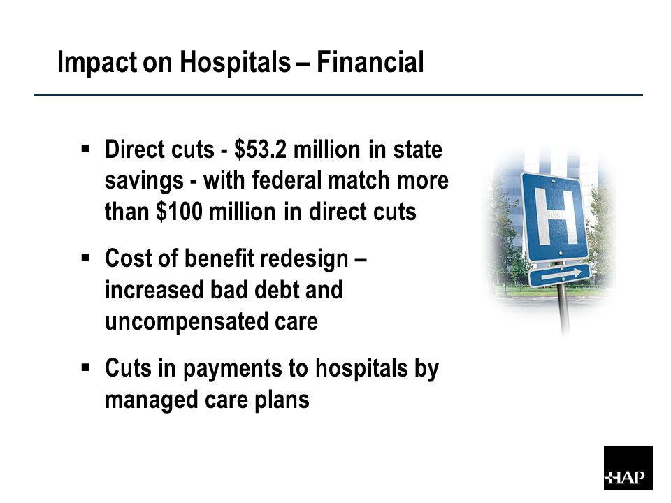 Impact on Hospitals – Financial  Direct cuts - $53.2 million in state savings - with federal match more than $100 million in direct cuts  Cost of benefit redesign – increased bad debt and uncompensated care  Cuts in payments to hospitals by managed care plans