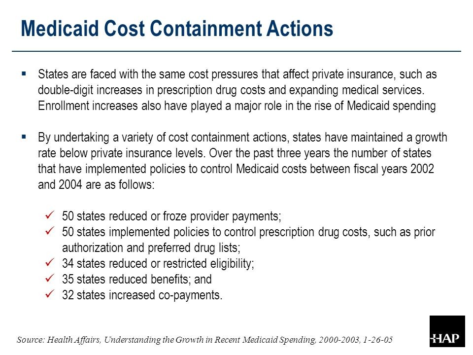 Medicaid Cost Containment Actions  States are faced with the same cost pressures that affect private insurance, such as double-digit increases in prescription drug costs and expanding medical services.