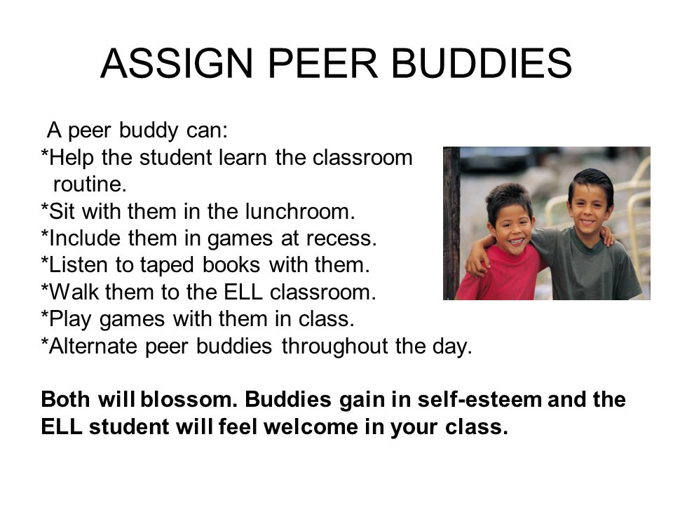 ASSIGN PEER BUDDIES A peer buddy can: *Help the student learn the classroom routine.