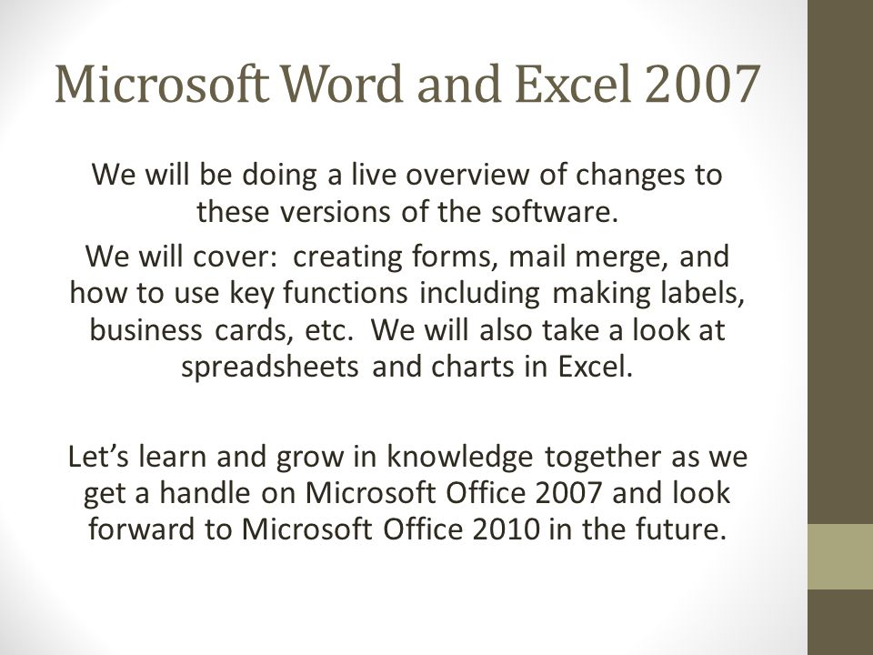 Microsoft word and excel 2007 live and in person presented by 2 microsoft reheart Choice Image