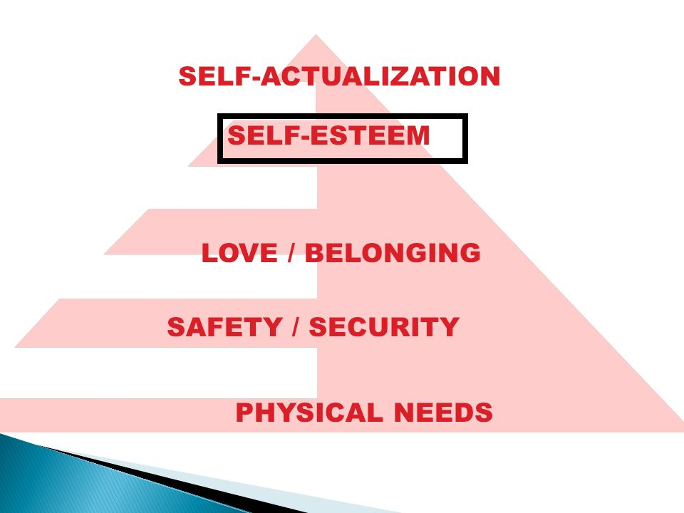 SELF-ACTUALIZATION SELF-ESTEEM PHYSICAL NEEDS SAFETY / SECURITY LOVE / BELONGING