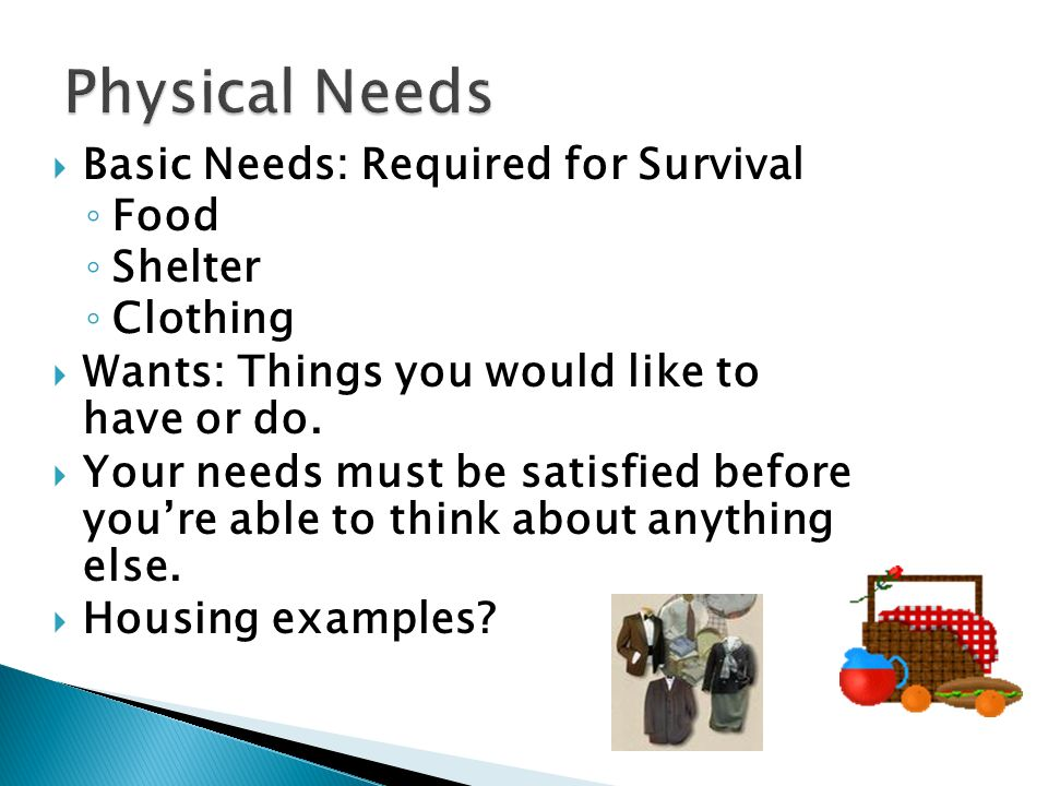  Basic Needs: Required for Survival ◦ Food ◦ Shelter ◦ Clothing  Wants: Things you would like to have or do.