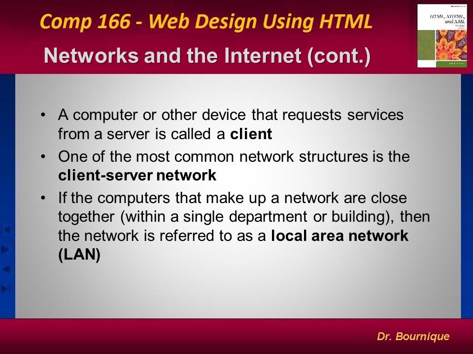 1 Networks and the Internet A network is a structure linking