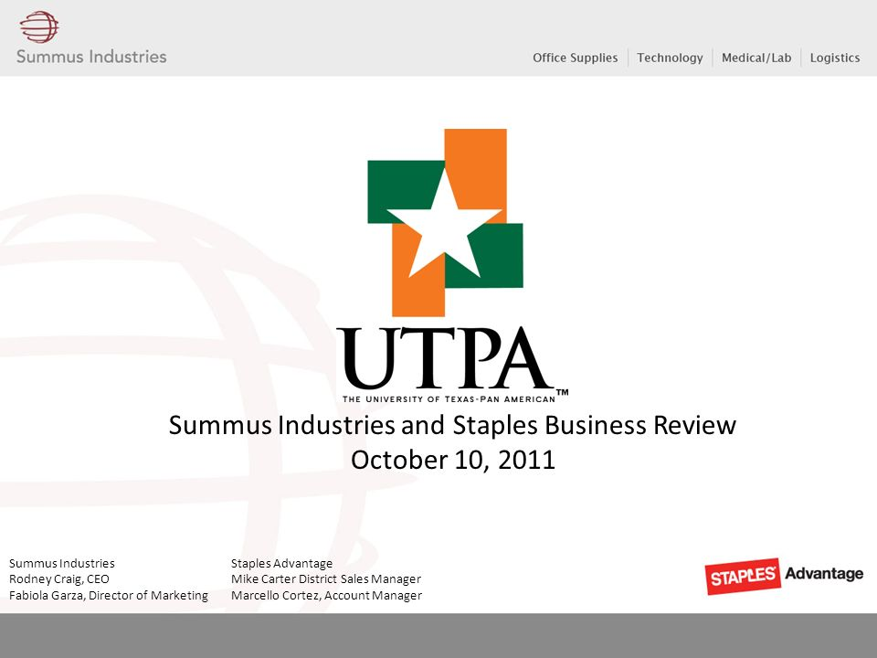 Summus Industries and Staples Business Review October 10