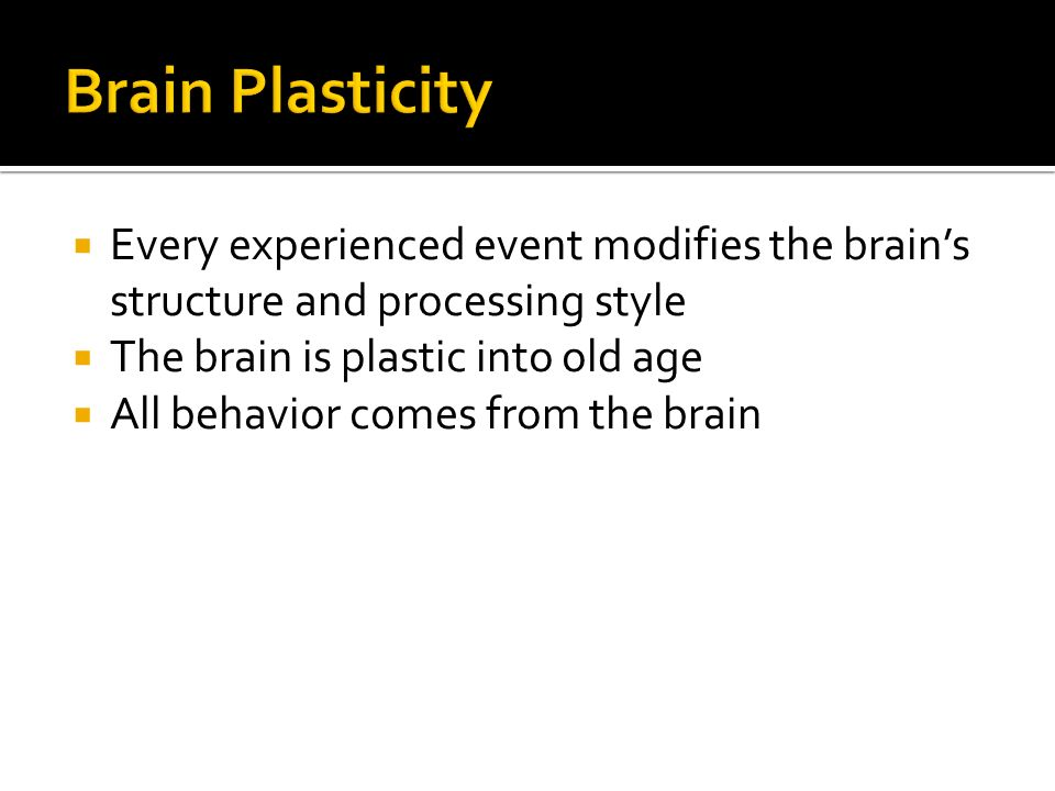  Every experienced event modifies the brain's structure and processing style  The brain is plastic into old age  All behavior comes from the brain