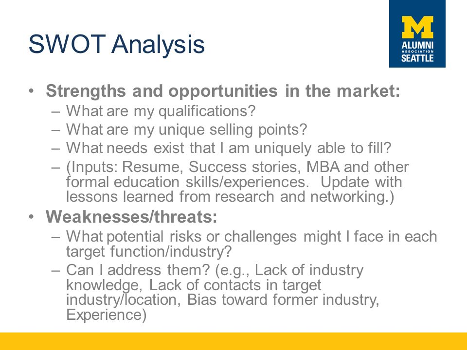 SWOT Analysis Strengths and opportunities in the market: –What are my qualifications.