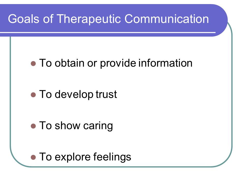 Goals of Therapeutic Communication To obtain or provide information To develop trust To show caring To explore feelings
