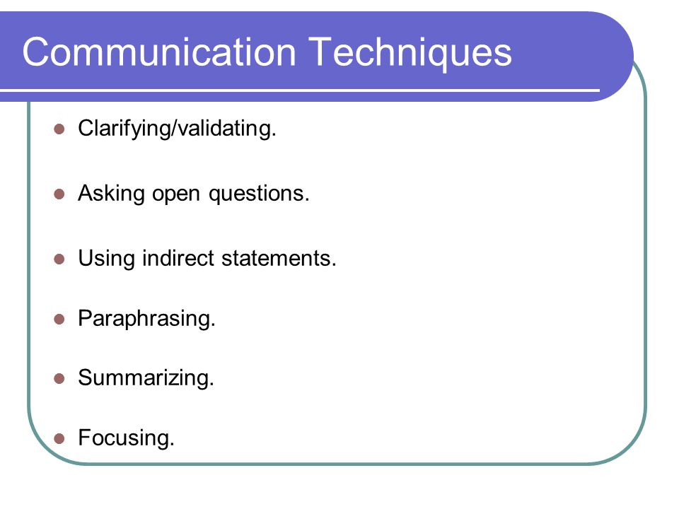 Communication Techniques Clarifying/validating. Asking open questions.