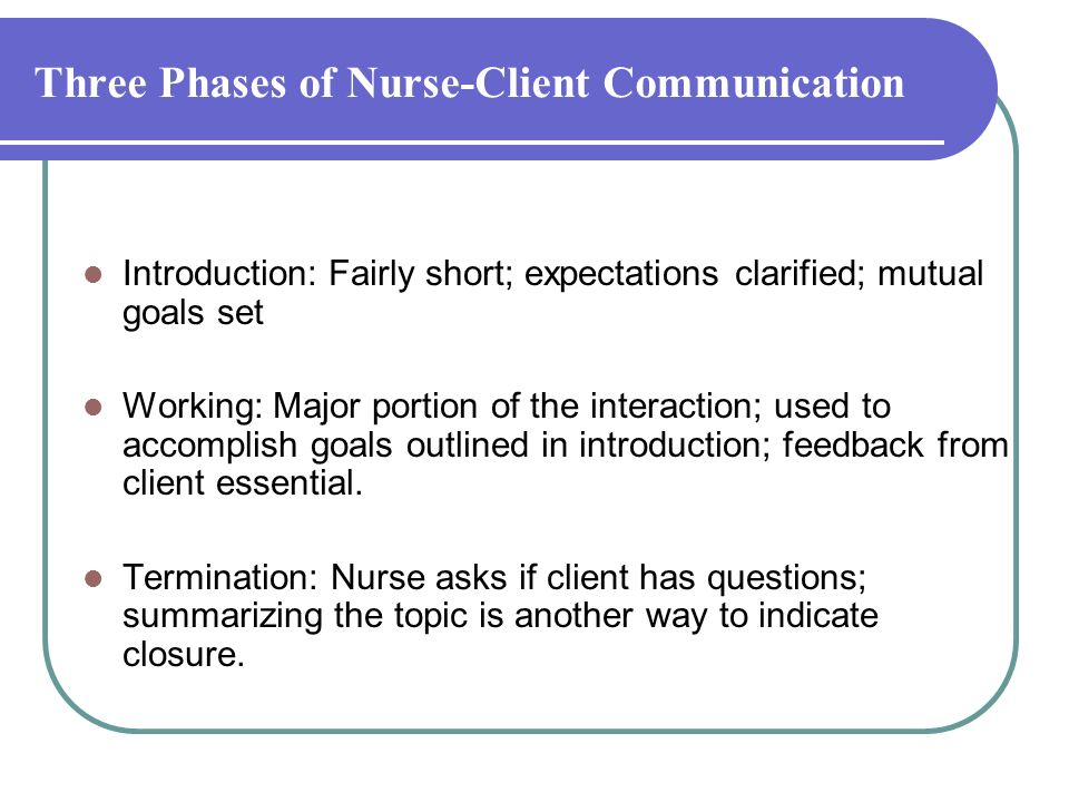 Three Phases of Nurse-Client Communication Introduction: Fairly short; expectations clarified; mutual goals set Working: Major portion of the interaction; used to accomplish goals outlined in introduction; feedback from client essential.