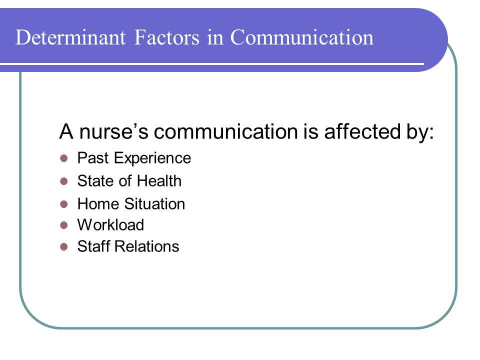 Determinant Factors in Communication A nurse's communication is affected by: Past Experience State of Health Home Situation Workload Staff Relations