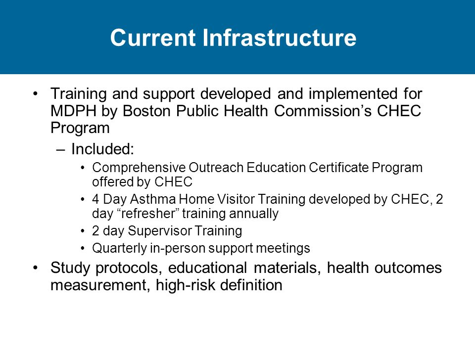 Current Infrastructure Training and support developed and implemented for MDPH by Boston Public Health Commission's CHEC Program –Included: Comprehensive Outreach Education Certificate Program offered by CHEC 4 Day Asthma Home Visitor Training developed by CHEC, 2 day refresher training annually 2 day Supervisor Training Quarterly in-person support meetings Study protocols, educational materials, health outcomes measurement, high-risk definition