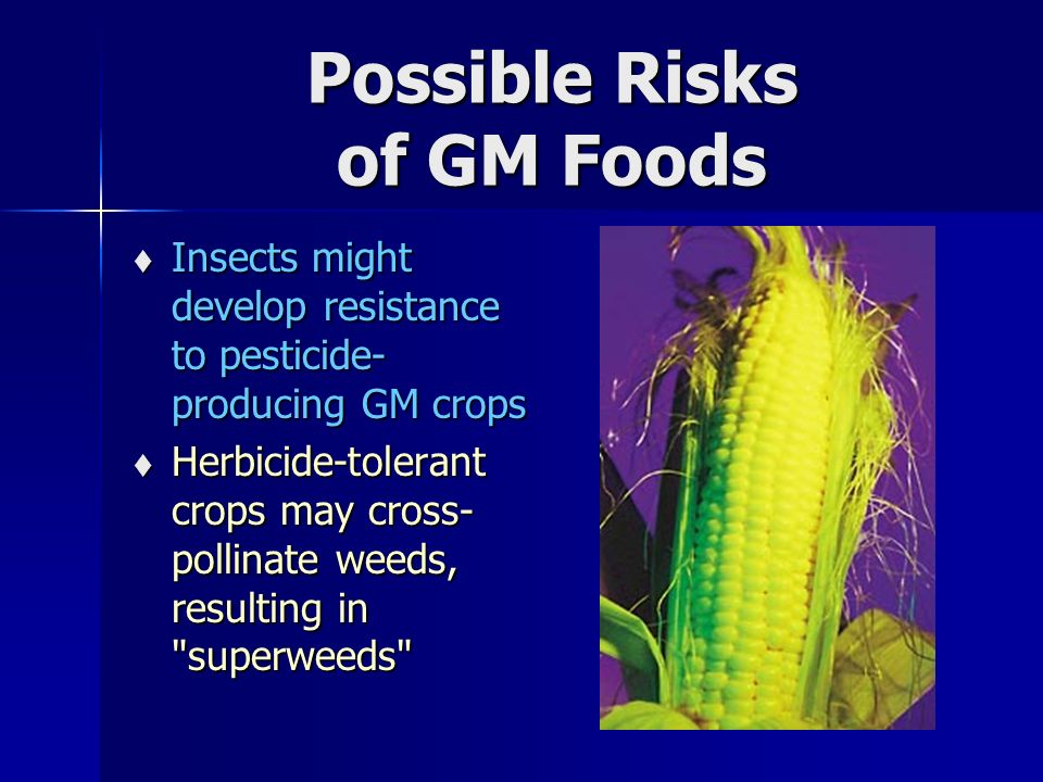 Possible Risks of GM Foods  Insects might develop resistance to pesticide- producing GM crops  Herbicide-tolerant crops may cross- pollinate weeds, resulting in superweeds