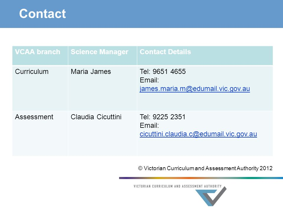 Contact VCAA branchScience ManagerContact Details CurriculumMaria JamesTel: AssessmentClaudia CicuttiniTel: © Victorian Curriculum and Assessment Authority 2012
