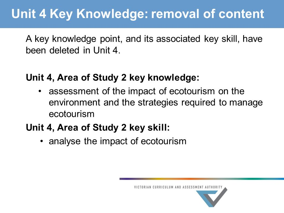 Unit 4 Key Knowledge: removal of content A key knowledge point, and its associated key skill, have been deleted in Unit 4.