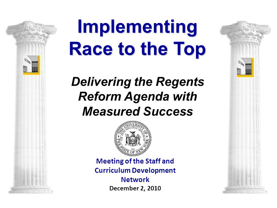 Meeting of the Staff and Curriculum Development Network December 2, 2010 Implementing Race to the Top Delivering the Regents Reform Agenda with Measured Success