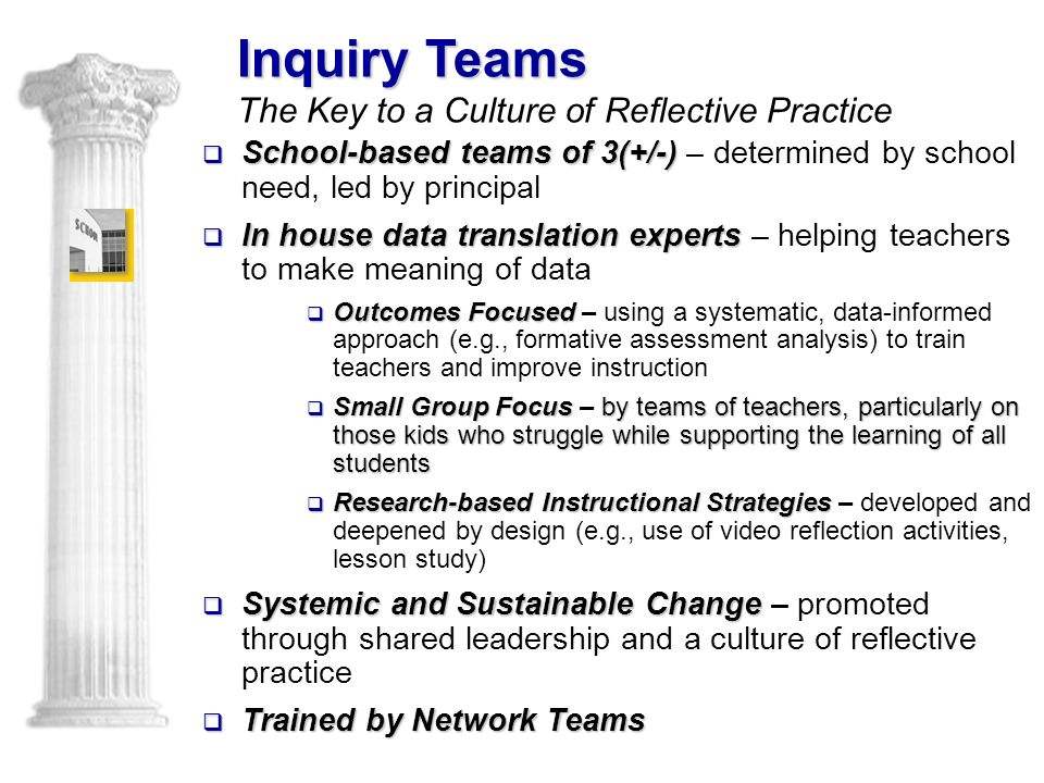  School-based teams of 3(+/-)  School-based teams of 3(+/-) – determined by school need, led by principal  In house data translation experts  In house data translation experts – helping teachers to make meaning of data  OutcomesFocused  Outcomes Focused – using a systematic, data-informed approach (e.g., formative assessment analysis) to train teachers and improve instruction  Small Group Focus by teams of teachers, particularly on those kids who struggle while supporting the learning of all students  Small Group Focus – by teams of teachers, particularly on those kids who struggle while supporting the learning of all students  Research-based Instructional Strategies  Research-based Instructional Strategies – developed and deepened by design (e.g., use of video reflection activities, lesson study)  Systemic and Sustainable Change  Systemic and Sustainable Change – promoted through shared leadership and a culture of reflective practice  Trained by Network Teams Inquiry Teams Inquiry Teams The Key to a Culture of Reflective Practice