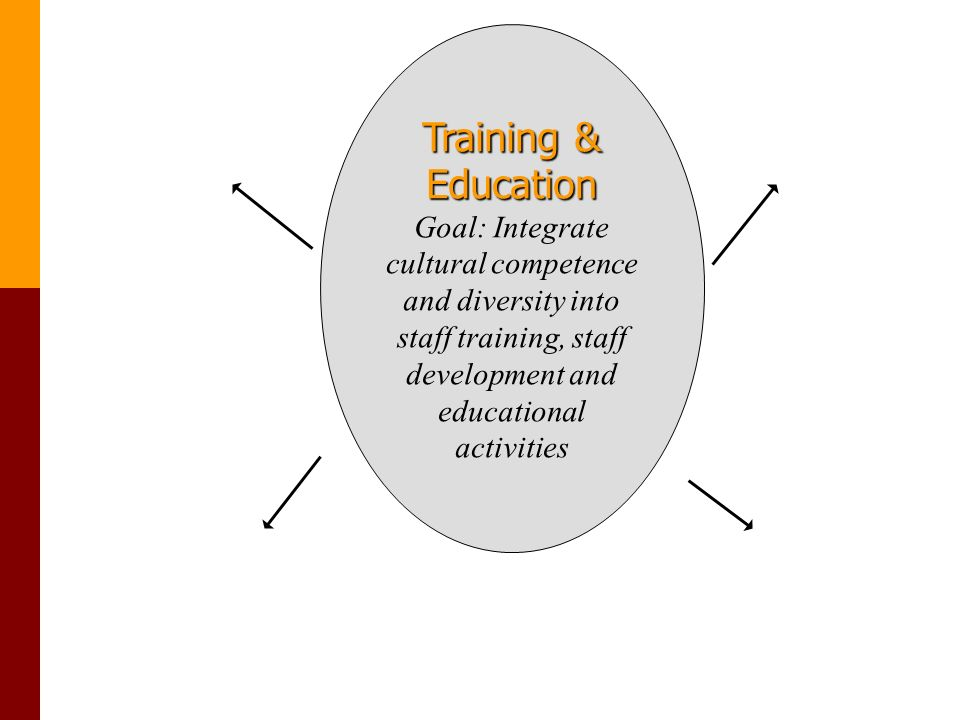 Training & Education Goal: Integrate cultural competence and diversity into staff training, staff development and educational activities