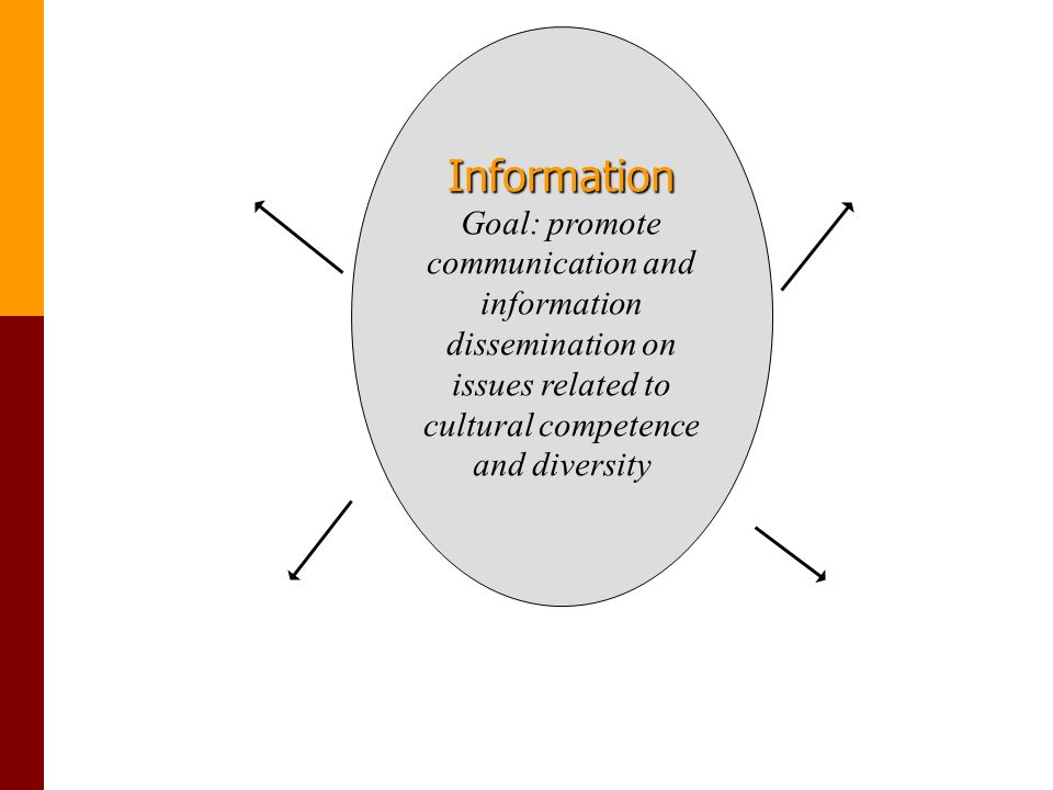 Information Goal: promote communication and information dissemination on issues related to cultural competence and diversity