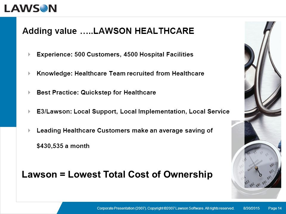page 148302015corporate presentation 2007 copyright 2007 lawson software